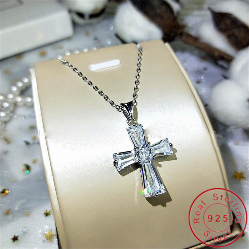 2020 Original 925 Sterling silver Cross Pendant Ladder Sona Cz Stone Cross Pendant Necklace for Women Party Wedding jewelry