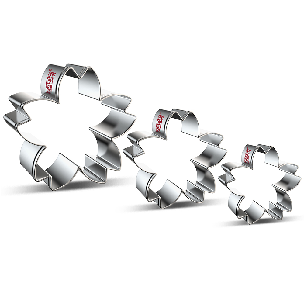 ZADE Plant Cookie Cutters Flower Cherry Blossom Biscuit And Fondant Cutter - Stainless Steel