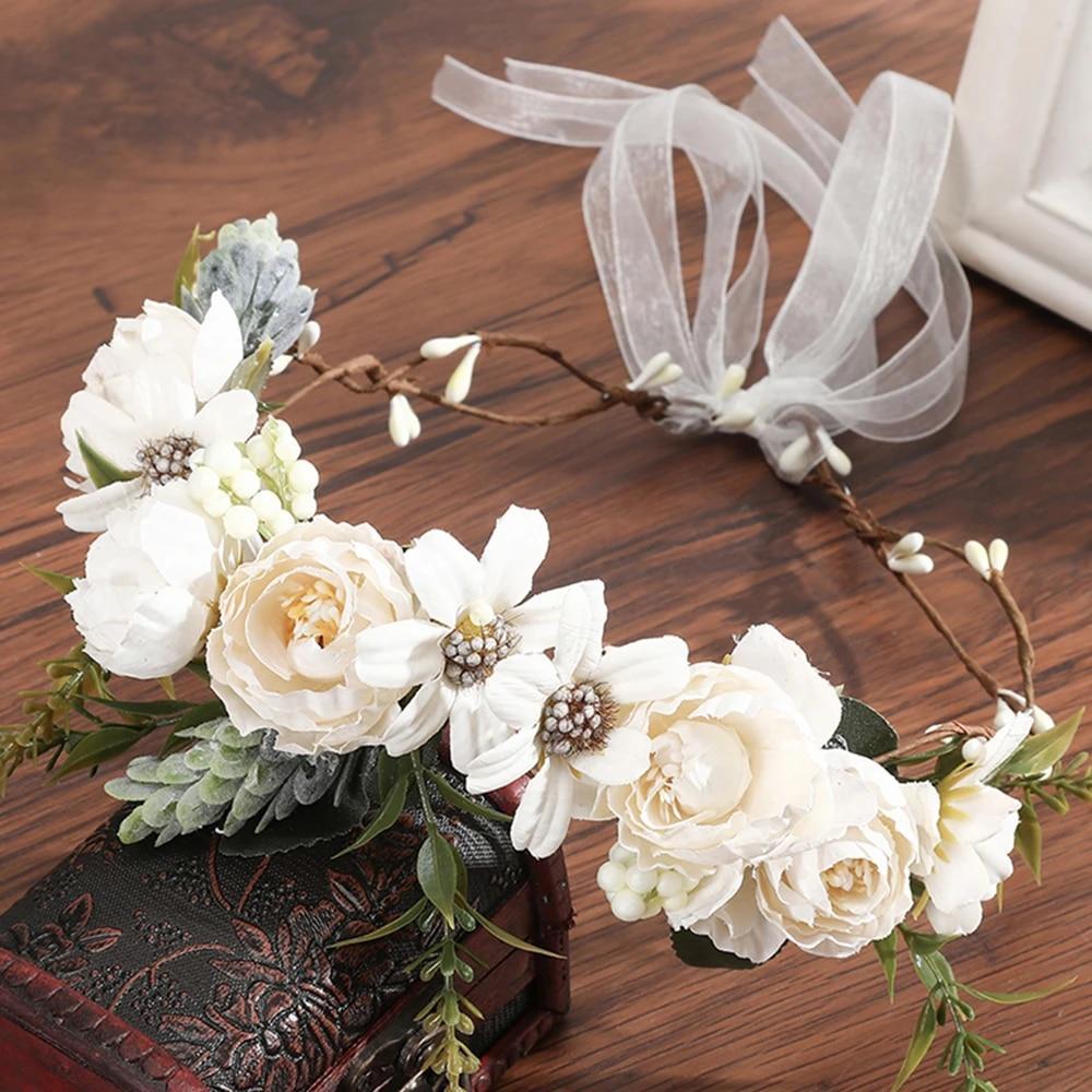 Bride Party Wedding Crown Headband Rose Hairband Floral Style Boho Flower