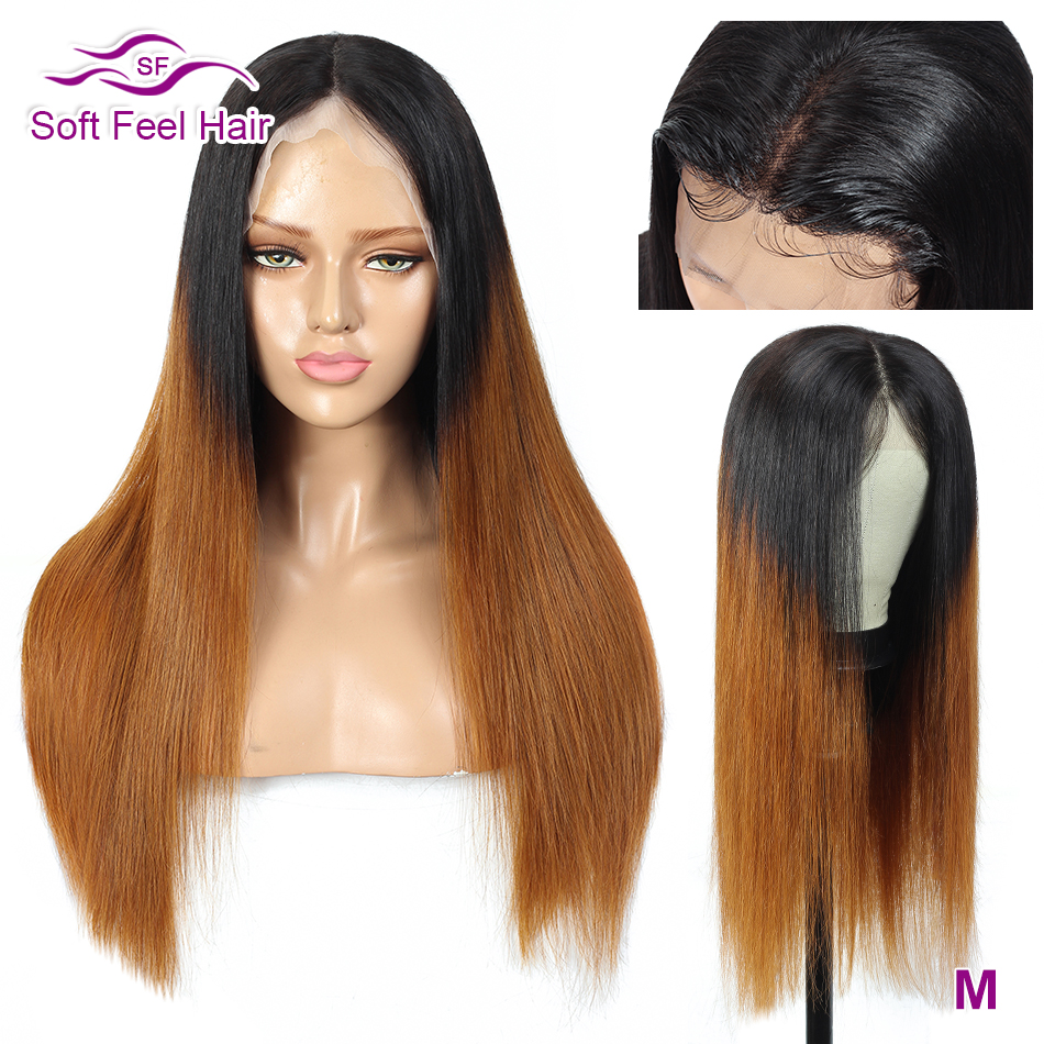 T1B/30 Ombre Human Hair Wig For Women 13x4 Transparent Lace Front Wigs Remy Brown Brazilian Straight Hair Wig 150 Soft Feel Hair