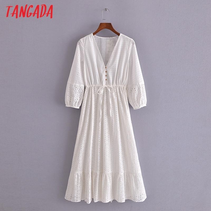 Tangada 2021 Sommer Frauen Weiß Stickerei Romantische Kleid V-ausschnitt Kurzarm Damen Midi Kleid Vestidos 3H184