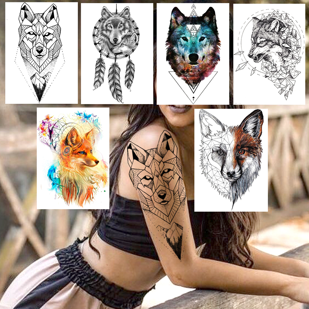 DIY Geometric Wolf Temporary Tattoos For Women Men Body Art Arm Tattoos Sticker Realistic Fake Dreamcatcher Coyote Flower Tatoos