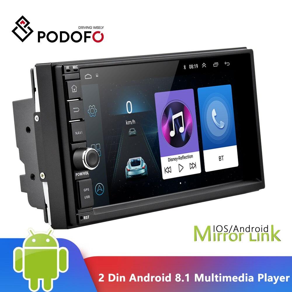 Podofo 2 Din Android 8,1 автомобильный мультимедийный плеер 7 ''сенсорный экран 2din GPS зеркальная связь WIFI автомобильное радио аудио Bluetooth Авторадио