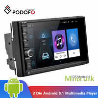 "Podofo 2 Din Android 8,1 coche Multimedia Player 7 ""Pantalla táctil 2din GPS enlace espejo WIFI coche Radio Audio Bluetooth Autoradio"