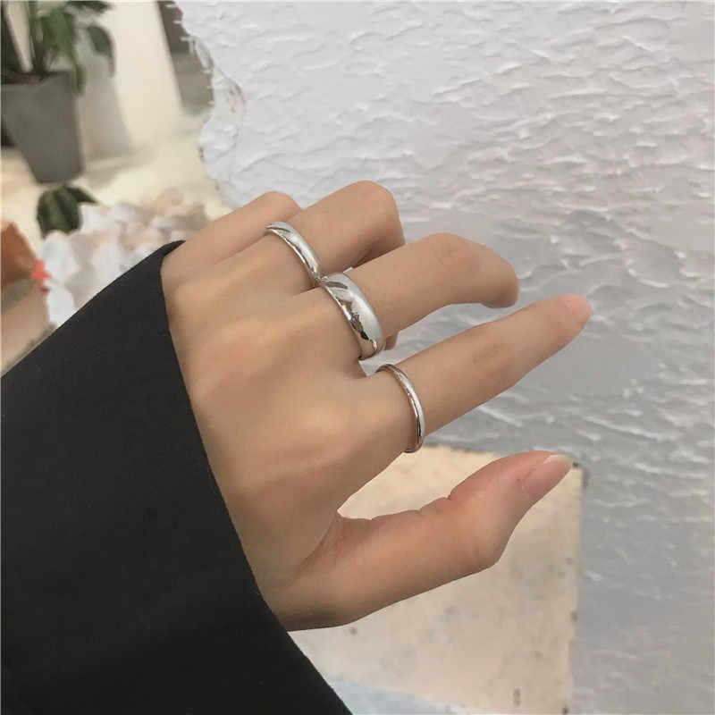 Комплект колец из трех предметов для женщин холодный ветер тренд в Instagram Модные знаменитости в Интернете Простые Кольца для студентов на указательный палец ri