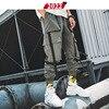 2022 Men Ribbons Streetwear Cargo Pants 2019 Autumn Hip Hop Joggers Pants Overalls Black Fashions Baggy Pockets Trousers 46