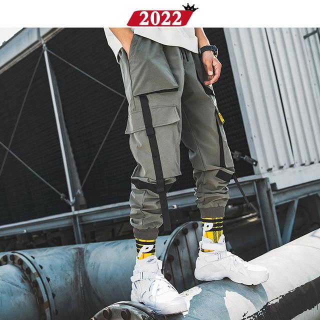 2022 Men Ribbons Streetwear Cargo Pants 2019 Autumn Hip Hop Joggers Pants Overalls Black Fashions Baggy Pockets Trousers 40