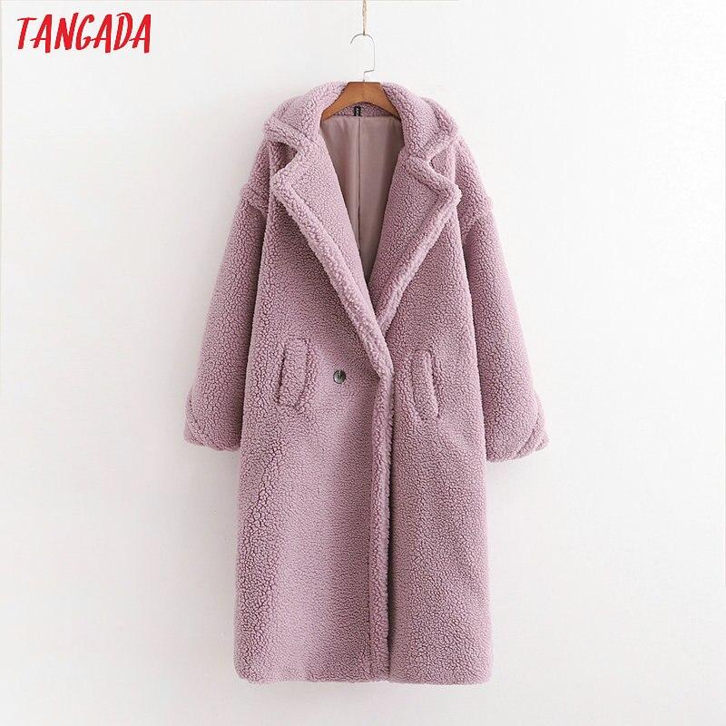Tangada Women Purple Long Teddy Coat 2019 Winter Female Winter Oversized Overcoat Vintage Long Sleeve Pockets Tops  1D04