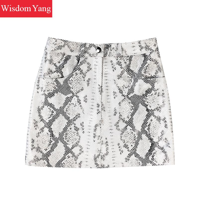 Autumn SheepSkin Genuine Leather Short Skirt Women High Waisted Mini Aline Skirts White Snakeskin Party Office Korean Clothes