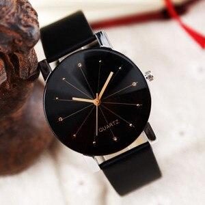 Men Women Leather Strap Line Analog Quartz Ladies Wrist Watches Fashion Watch Women's Watches Brand Luxury Watch
