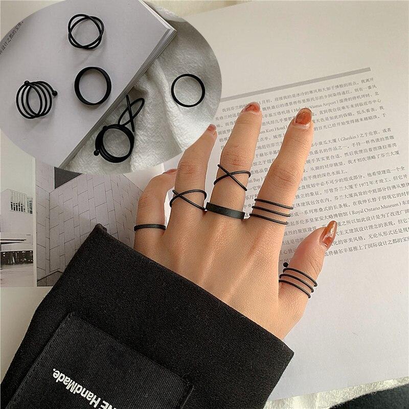Новые перстни в стиле панк 6 шт./компл. минималистичные гладкие золотистые/черные геометрические металлические кольца для женщин и девочек ...