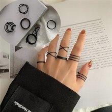 Novos Anéis de Dedo Do Punk 6 pçs/set Minimalista Suave Ouro/Preto Geométrica de Metal Anéis para Mulheres Meninas Festa de Jóias bijoux femme