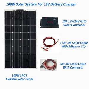 Image 2 - 200W Flexible Solar Panel 2pcs of 100W Panel Solar 20A Solar Controller 3M Cable for RV Boat Car Camping 12V 24V Battery Charger