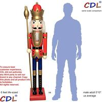 CDL 6feet/180cm/6ft/6foot Life size large/Giant Red and Gold Christmas Wooden Nutcracker King & Soldier Ornament Doll Gift K01