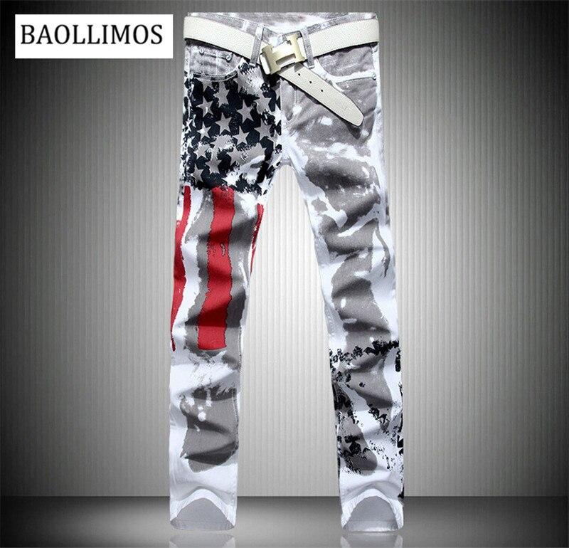 2019 Fashion Stylish Cool Mens Pants Jeans With Print Graffiti Painted Denim Slim Fit White Jeans Men Hip Hop Rock Street Jeans
