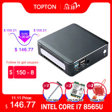 TOPTON Mini PC Windows 10 Intel i7 10510U i5 10210U i3 8145U 2 * DDR4 M.2 Nuc bilgisayar taşınabilir PC tip-c 4K 60Hz HDMI2.0 DP