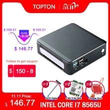 Topton mini windows 10 intel i7 10510u i5 10210u i3 8145u 2 * ddr4 m.2 nuc computador portátil tipo de computador-c 4k 60hz hdmi2.0 dp