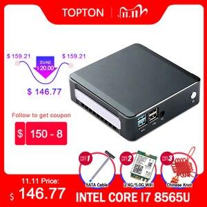 Image 1 - كمبيوتر صغير من TOPTON يعمل بنظام تشغيل Windows 10 بمعالج Intel i7 10510U i5 10210U i3 8145U 2 * DDR4 M.2 Nuc كمبيوتر محمول من النوع C 4K 60Hz HDMI2.0 DP