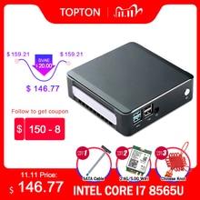 Topton mini windows 10 intel i7 10510u i5 10210u i3 8145u 2 * ddr4 m.2 nuc computador portátil tipo de computador c 4k 60hz hdmi2.0 dp