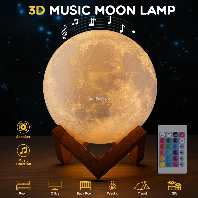 NEW 3D Music Rambery Moon Lamp 3/16 Colors Led Night Light With Touch/Pat/Remote Control USB Rechargeable Lamp Gift 15/18cm
