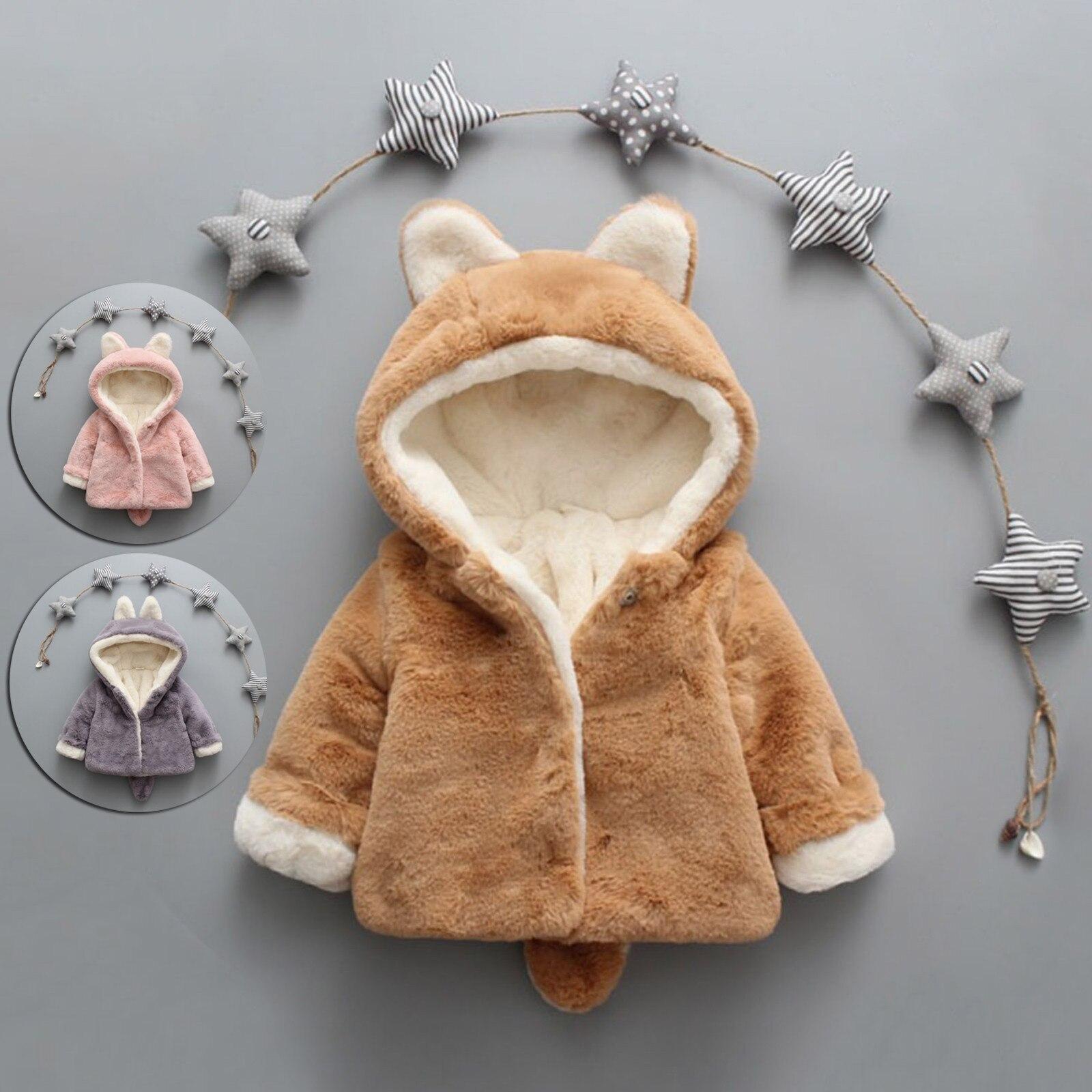 Jacket for girls Toddler Baby Boys Girls Fleece Windproof Winter Coat Thicken Warm Hoodie Outwear clothes for новорождëных