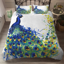 A Bedding Set 3D Printed Duvet Cover Bed Peacock Feather Home Textiles for Adults Bedclothes with Pillowcase #KQ03