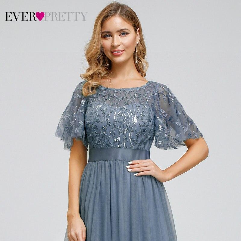 Robe De soirée étincelle robes De soirée longue jamais jolie EP00904GY a-ligne o-cou à manches courtes robes formelles femmes robes élégantes - 4