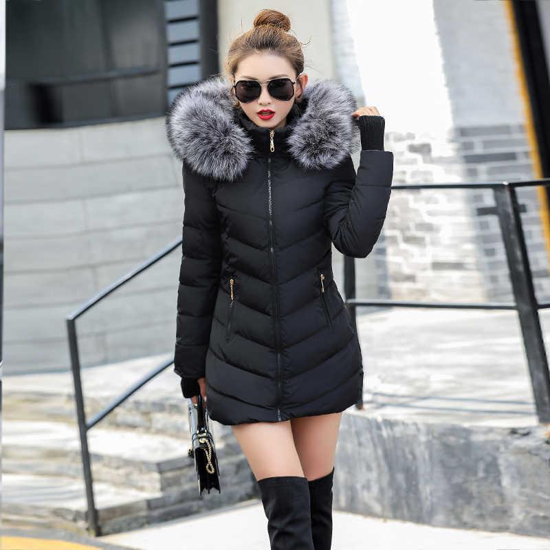 Mulheres Jaqueta de inverno Nova parka mulheres 2019 Casacos Com Capuz Senhoras Casacos Feminino Parka Grosso Forro de Algodão Acolchoado Casacos de Inverno Feminino