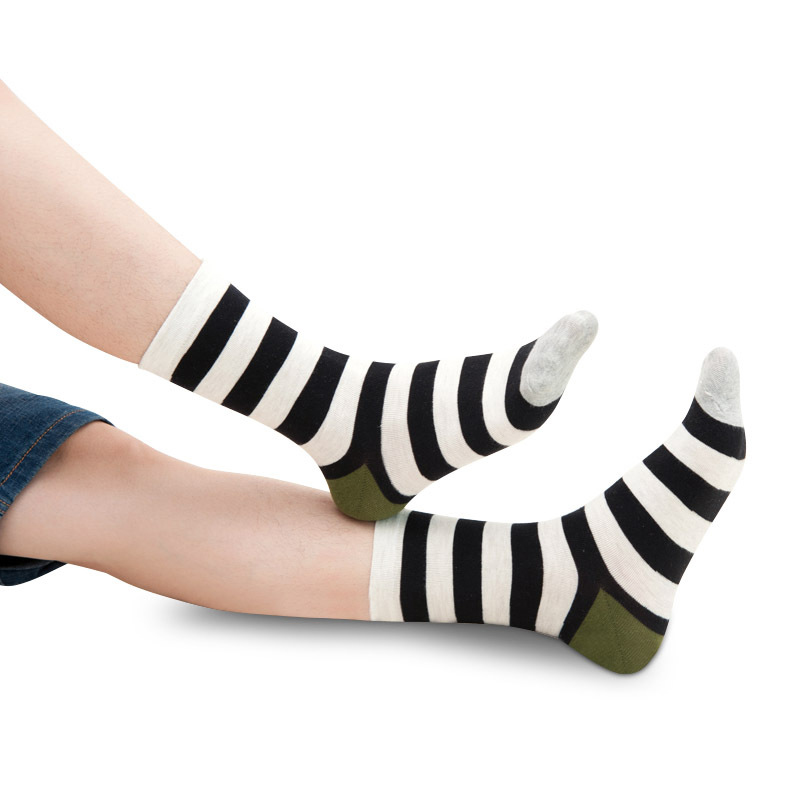 Men's Casual Korean Style Striped Socks Male Party Dress Cotton Socks Man Summer Absorb Sweat Breathable Business Socks Sox