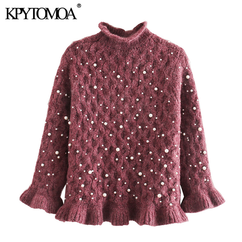Vintage Sweet Faux Pearl Beading Cropped Knitted Sweater Women 2020 Fashion Long Sleeve Ruffles Female Pullovers Chic Tops