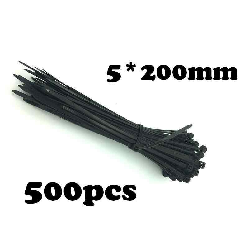 500 قطعة/الحزمة عالية الجودة 5*200 مللي متر كابل الربط StrapsZip حلقة للأسلاك مرتب الأسود