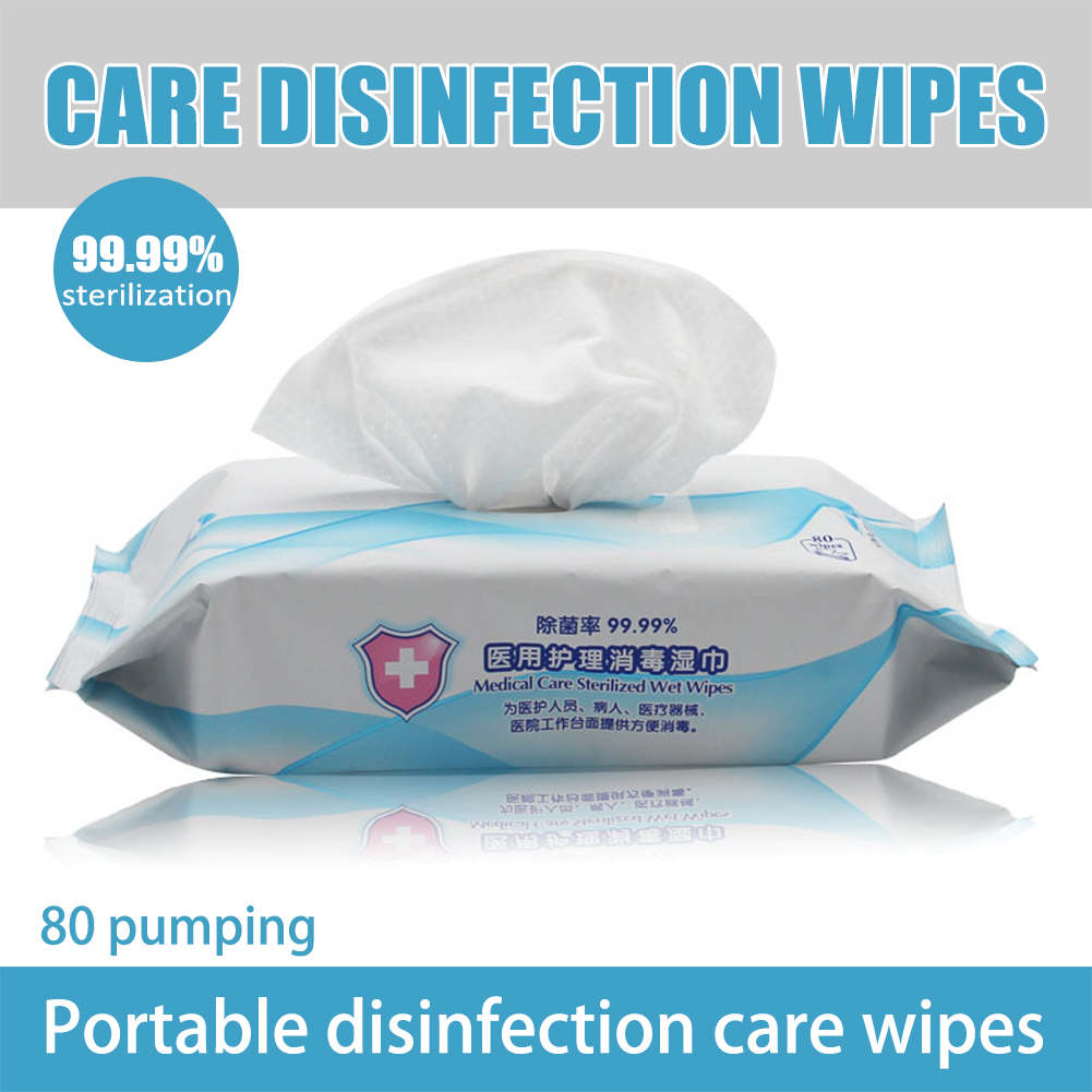 Household Portable 80pcs/Box Alcohol Disinfection Wipes Antiseptic Cleaning Sterilization Wipes Wet Wipes First Aid