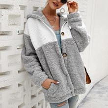 Color Stitching Plus Size Fur Jacket Coat Women Autumn Winter Plush Cotton Button Warm Thick Teddy Coat Female Casual Overcoat(China)