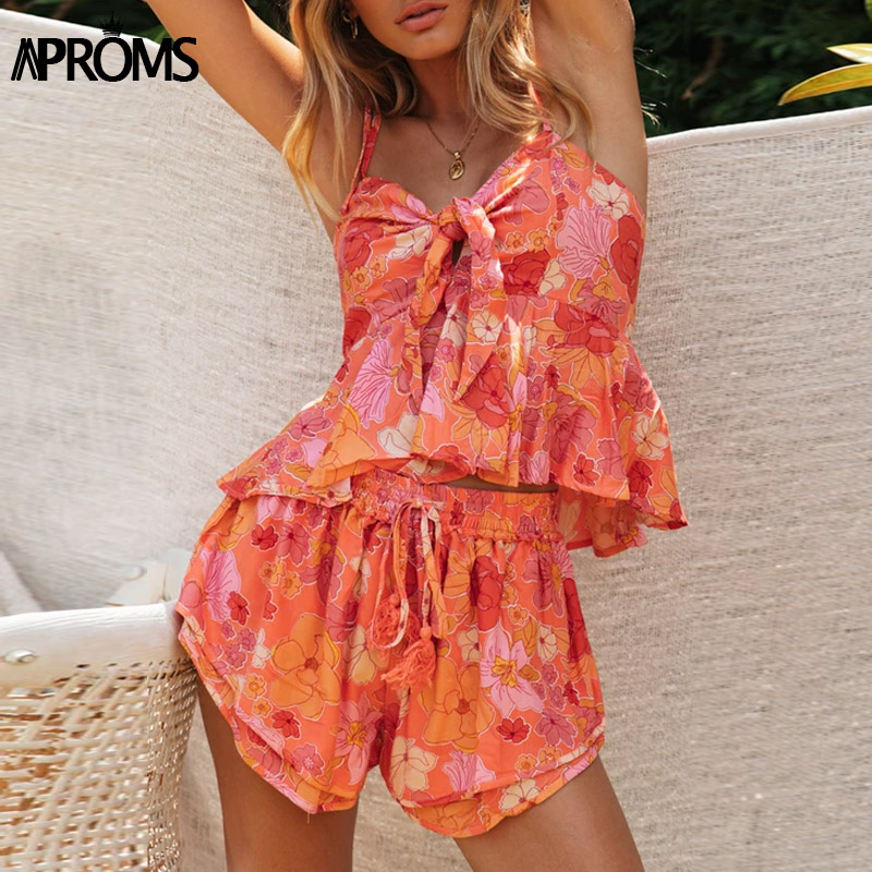 Aproms Boho Tropical Flower Print 2 Piece Set Women Casual Bow Tie Crop Top And Shorts Suit Cool Girls Beach Drawstring Shorts