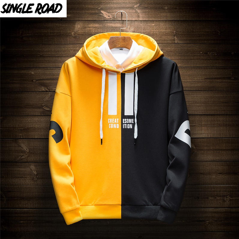 SingleRoad Men's Hoodies Men Spring Japanese Streetwear Patchwork Casual Sweatshirt Male Hip Hop Yellow Hoodie Tracksuit Men
