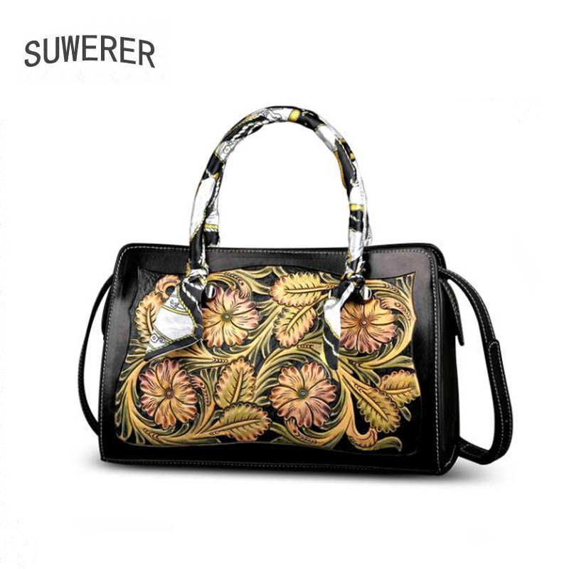 SUWERER 2020 New Women Genuine Leather bag Luxury handbags women famous brand leather bag  Hand carved tote bagsTop-Handle Bags   -