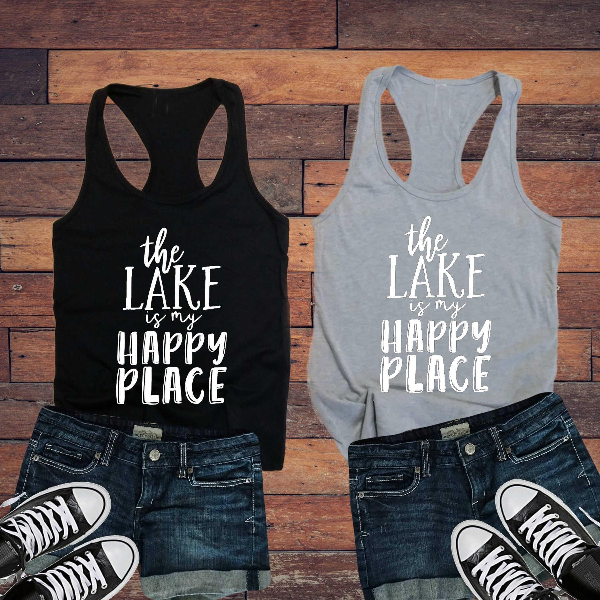 Nieuwe Top Grappig Adventure Slogan Tumblr Vest Hemd Singlet Goth Mouwloze Kledingstuk De Lake Is Mijn Gelukkige Plaats Dames Tank