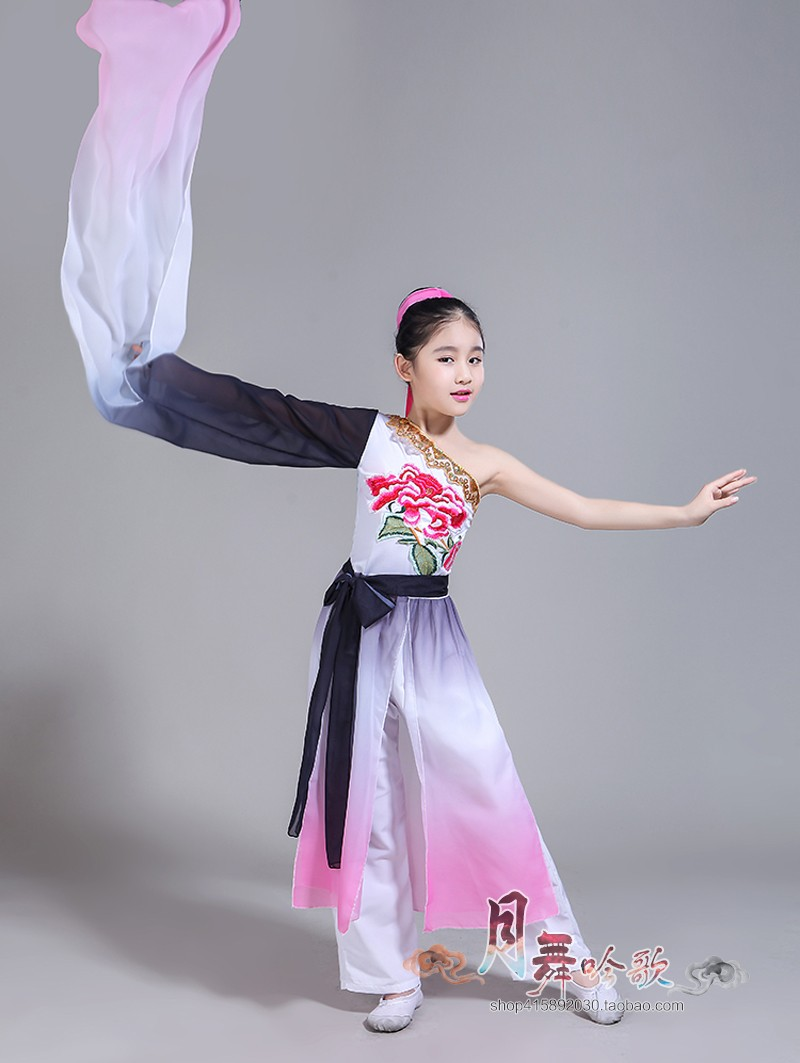 Ink Hanfu Dress Chinese Folk Dance Water Sleeves Chinese Dress Kids Chinese Dance Costumes Ancient Chinese Costume Fairy Costume