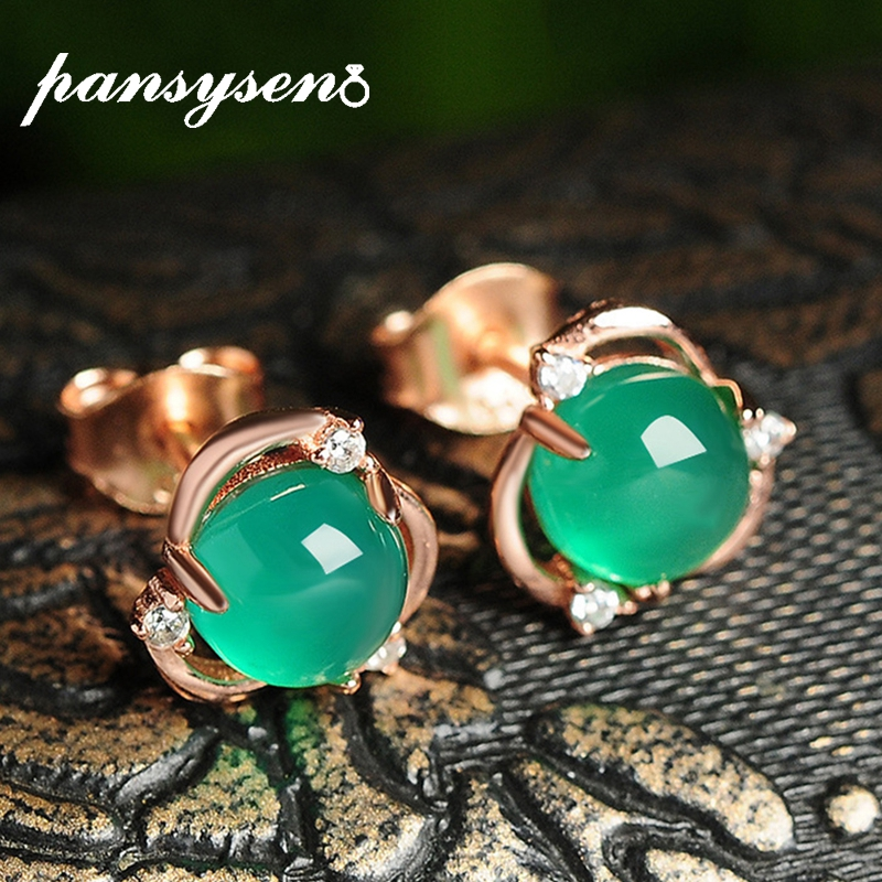 PANSYSEN Luxury Green Chalcedony Stud Earrings Real 100% 925 Sterling Silver Fashion Women Earring Party Fine Jewelry Wholesale