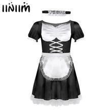 Iiniim Herren Sissy Französisch Maid Uniform Phantasie Kleid Sexy Lustige Kostüme Clubwear Parteien Satin Kleid mit Halsband und Stirnband