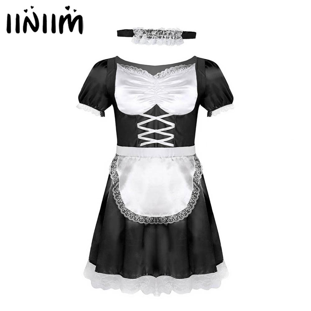 iiniim Mens Sissy French Maid Uniform <font><b>Fancy</b></font> <font><b>Dress</b></font> <font><b>Sexy</b></font> Funny <font><b>Costumes</b></font> Clubwear Parties Satin <font><b>Dress</b></font> with Choker and Headband image