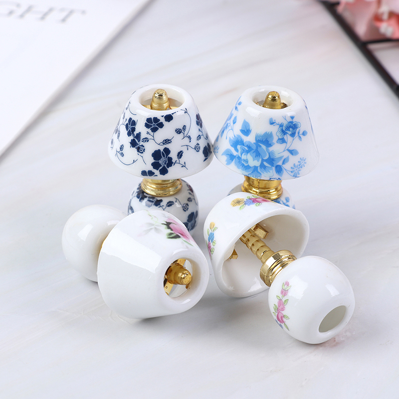 1:12 Mini Ceramic Lamp Miniatures Dollhouse Toy Porcelain Miniature  Table Lamp Doll House Accessories