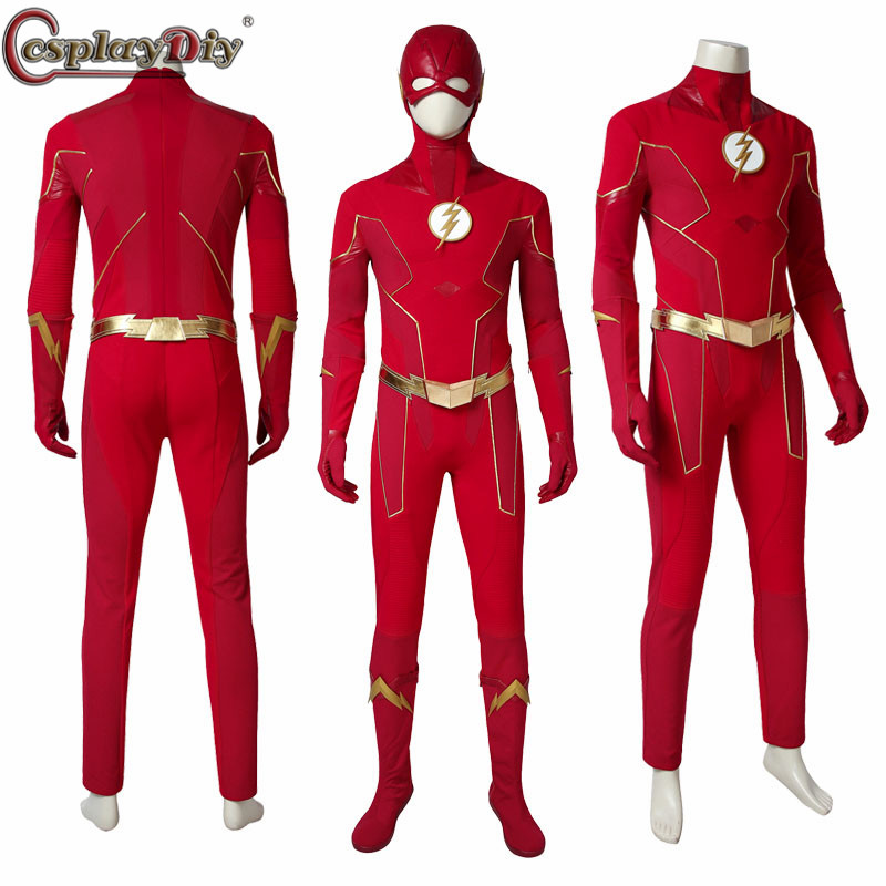 Cosplaydiy <font><b>The</b></font> <font><b>Flash</b></font> Season 6 Costume Barry Allen <font><b>Cosplay</b></font> Outfit <font><b>Flash</b></font> Jumpsuit <font><b>Boots</b></font> Gloves Halloween Adult Uniform Custom Made image