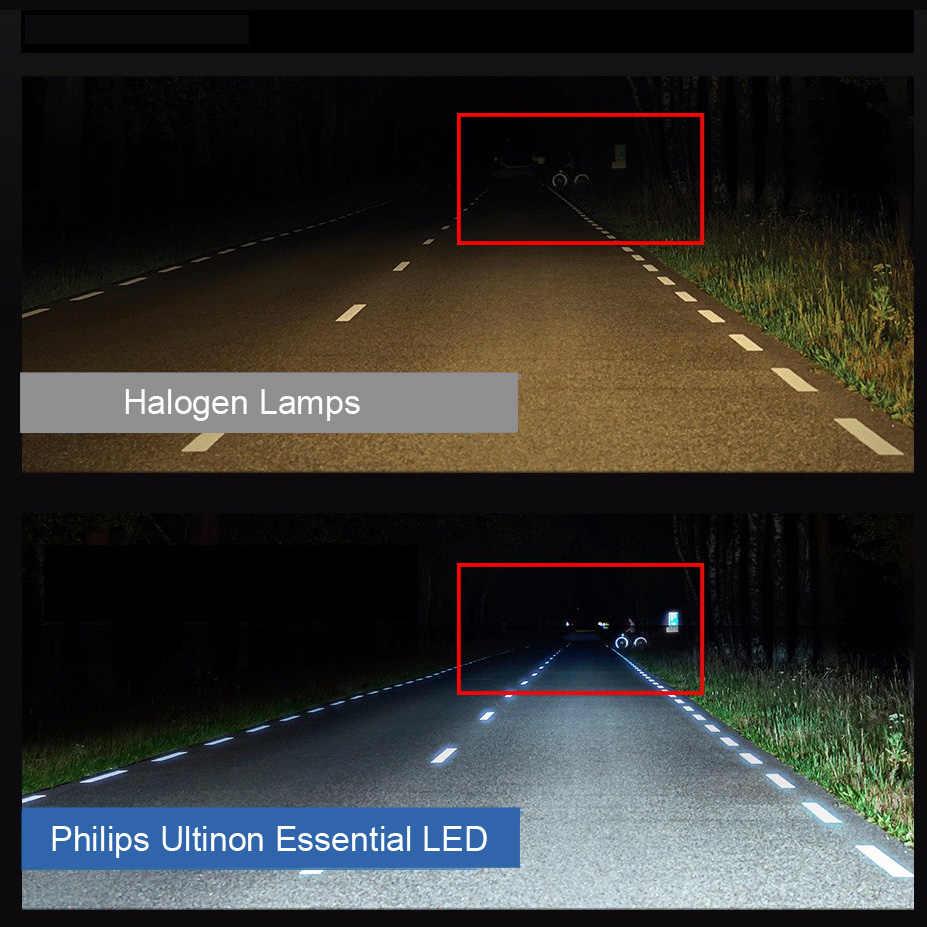 Philips LED H4 H7 H8 H11 H16 9005 9006 9012 HB3 HB4 H1R2 Ultinon Essential LED Car 6000K White Headlight Auto Bulbs Fog Lamps 2X