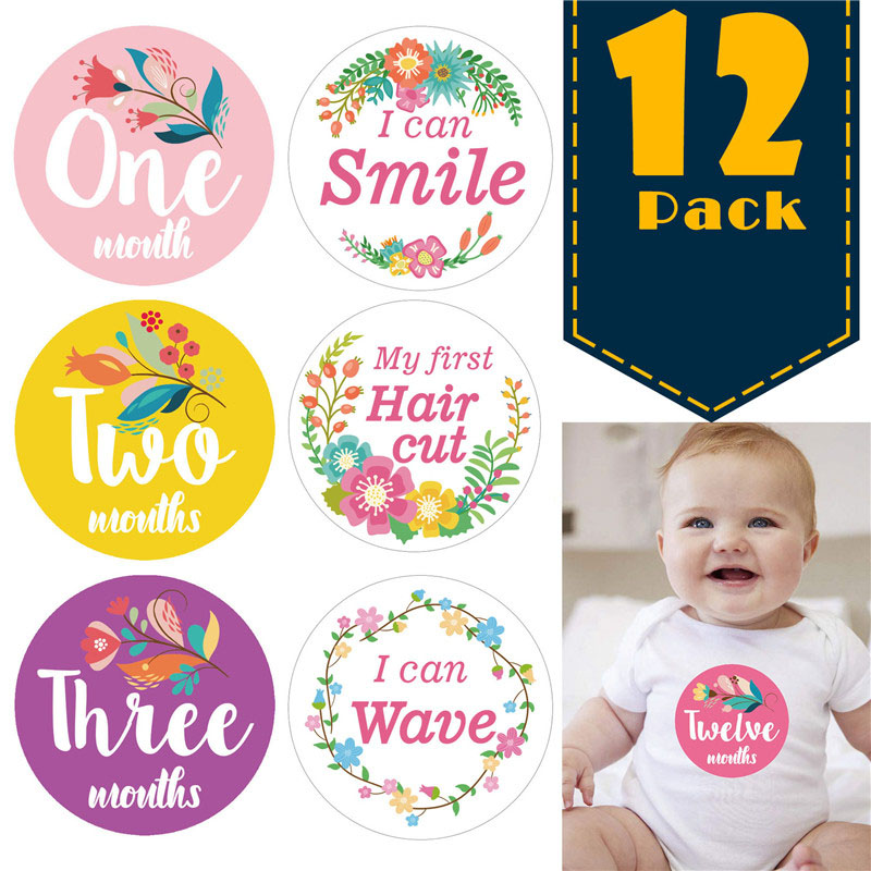 12 Pcs/Set First Year Baby Monthly Milestone Photo Sharing Baby Belly Stickers Birth To 12 Months 8 Bonus Achievement Stickers