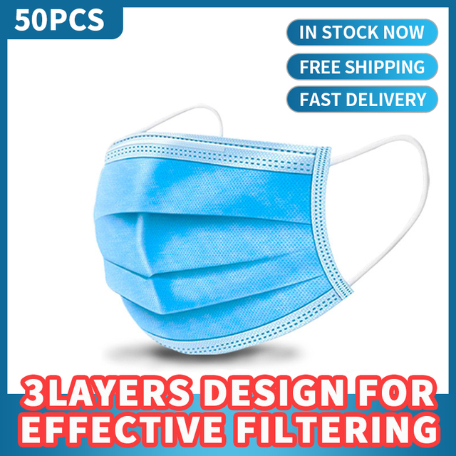 50 pcs High Quality 3 Layers Masks Anti-Pollution Protective Masks on Face Respirator Mouth Cover Mouth guard Anti Dust 2020