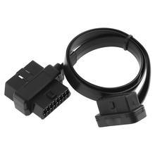 OBD II OBD2 90 stopni 16 Pin męski na podwójny 16Pin żeński przewód łączący Adapter z 58CM linii dla Auto narzędzie diagnostyczne do samochodów