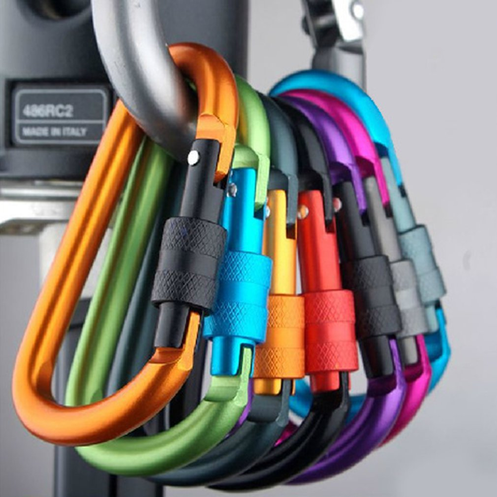 Durable Aluminum Alloy Carabiner Clasps D Shape Keychain Snap Clip Carabiner Hiking Buckle Split Spring Hook