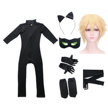 Wig Costume Bug-Suits Noir Cosplay Black Cat Halloween Kids Lady Spandex Sets Christmas-Party