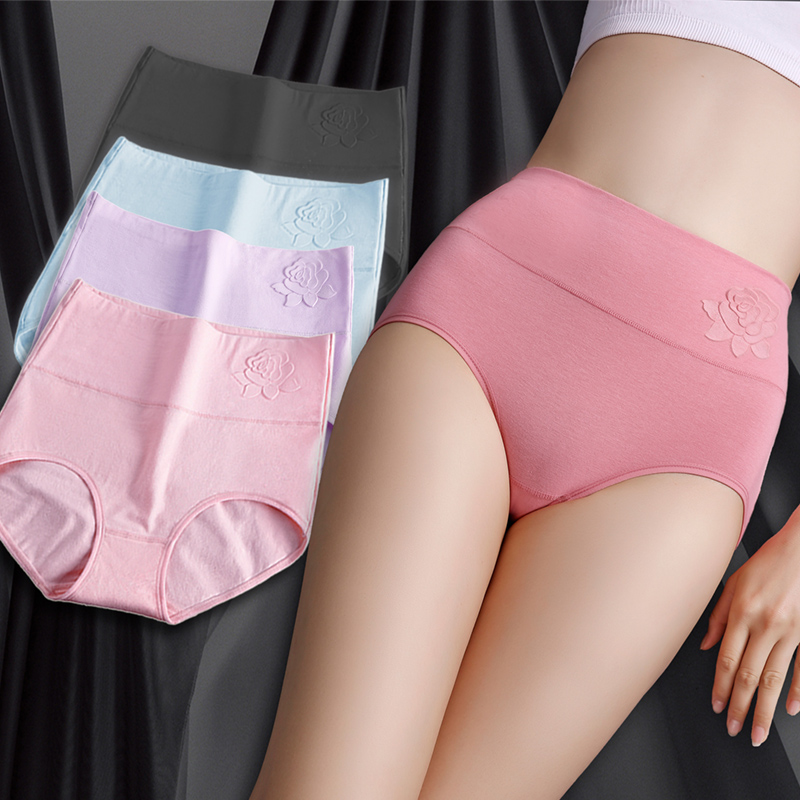 Cotton women's panties elastic soft large size XXXL Embossed ROSE Ladies underwear Breathable sexy High waist briefs